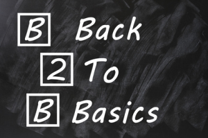 Back to Basics for Business Success - written on chalkboard